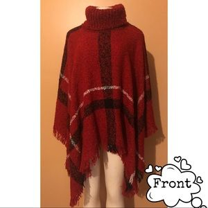 Red Pancho Perfect for Fall/ Winter